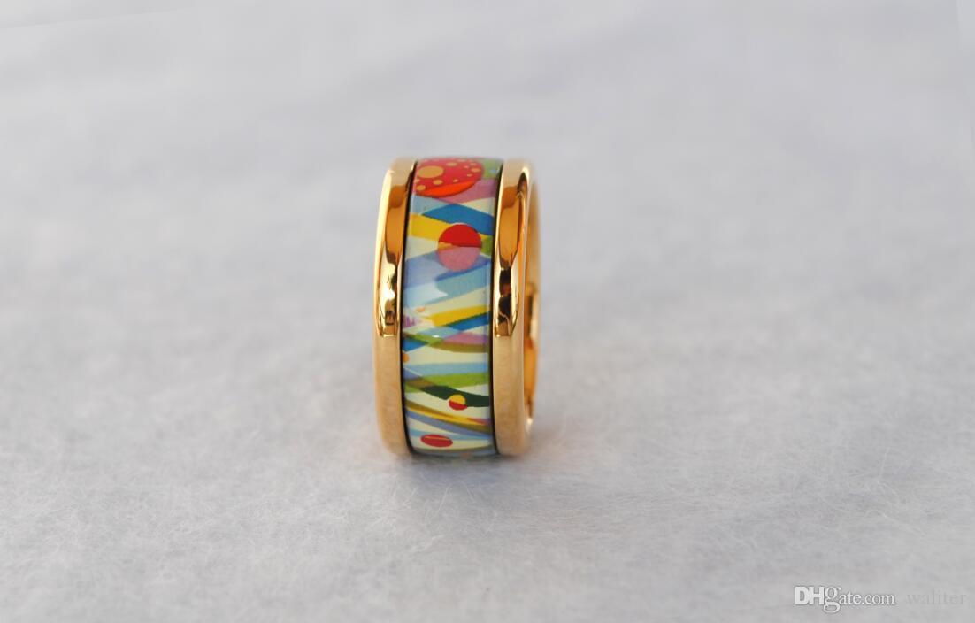 La serie Flower of Love suena anillos de esmalte chapado en oro de 18 quilates Top Anillo de joyería de producción avanzada para mujeres anillos de diseño para regalo