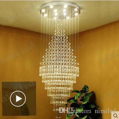 nimi1009 Moderne Long Lustre En Cristal Penthouse Escalier Villa Grand Salon Hôtel Hall Showroom Restaurant Pendentif Lampe Éclairage