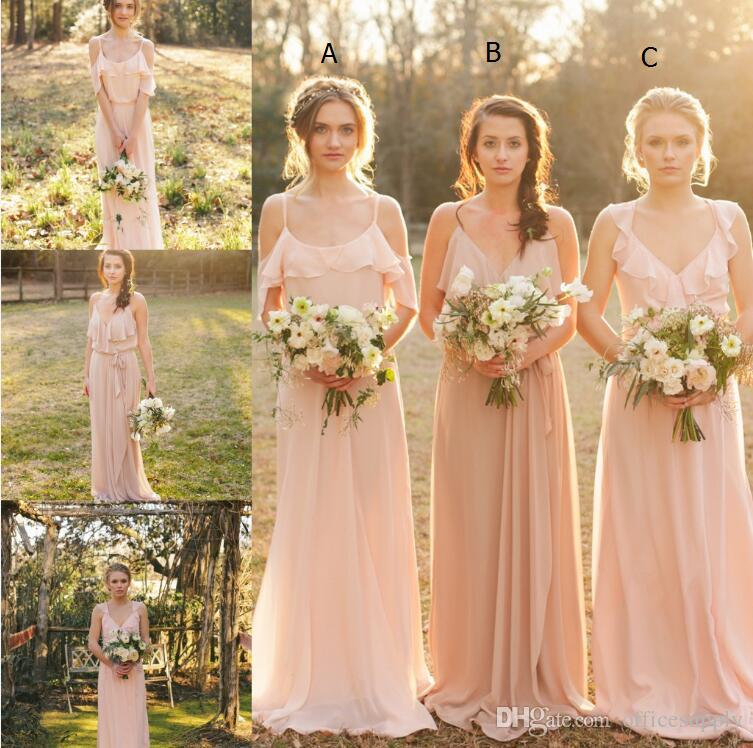 882b155d9a9af Cheap Country Style 2017 Pretty Blush Bridesmaid Dress Mixed Style Blow  Chiffon Boho Long Bridesmaid Dresses Beach Wedding Party Gowns Bridesmaids  Dress ...