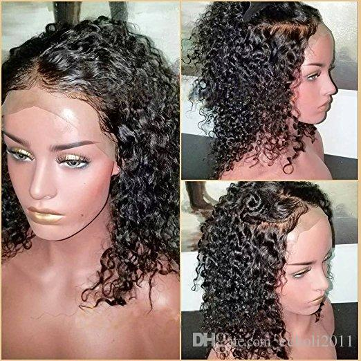 Cheap Lace Front Human Hair Wigs 130% Density Mongolian Virgin Hair kinky Curly full lace front Wig for Black Women Natural Color 12""