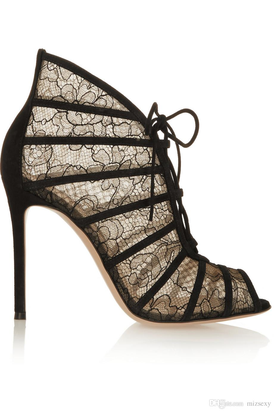 2018 novos sapatos de moda mulheres sandálias cut-outs lace peep toe gladiador sandálias de salto alto mulher sandalias sapatos de festa na moda
