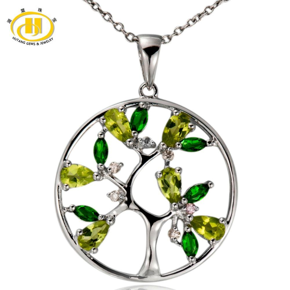 Tree of Life Natural Peridot Pendant 925 Sterling Silver Diopside Topaz Gemstone Necklace Fine Jewelry New Arrival