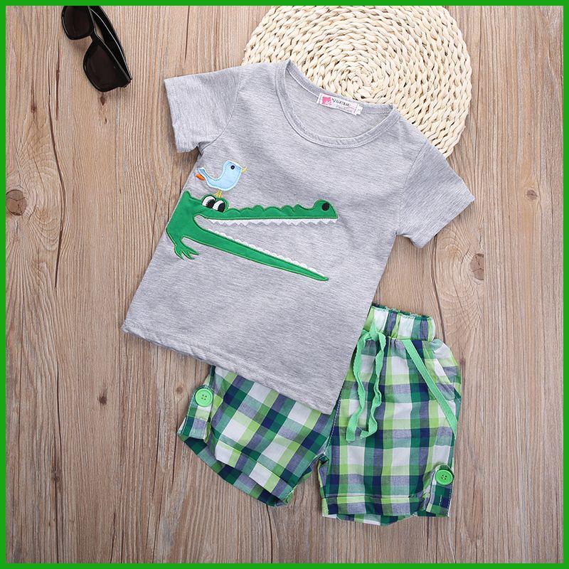 Estate bambini bambino sportivo sportivo breve t-shirt bambino corcodile pantaloni a righe bambini ragazzo vestito set di abbigliamento