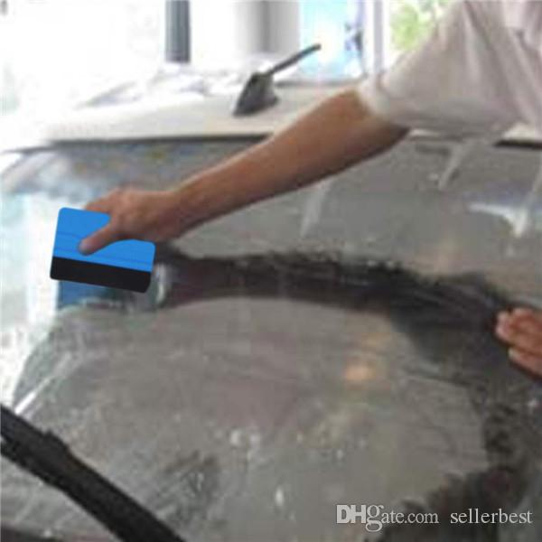 Squeegee Car Film Tool Vinyl Blue Plastic Scraper Squeegee With Soft Felt Edge Window Glass Decal Applicator