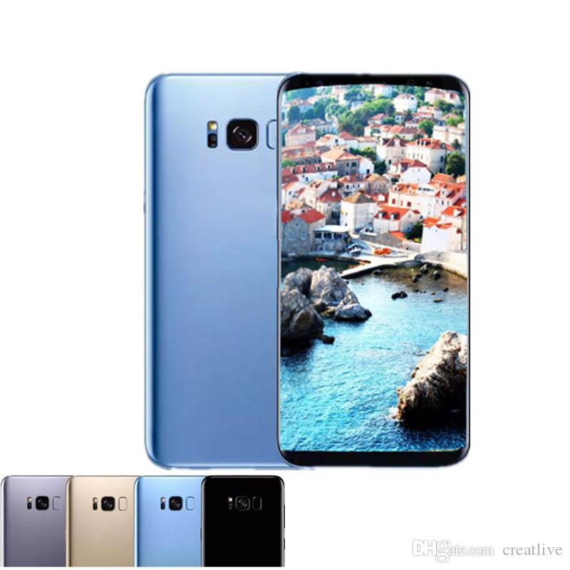 Goophone S8 plus unlocked cellphone Quad core 1G ram 4G rom 5 8 inch full  Screen Show 128GB fake 4g lte Android Smartphone