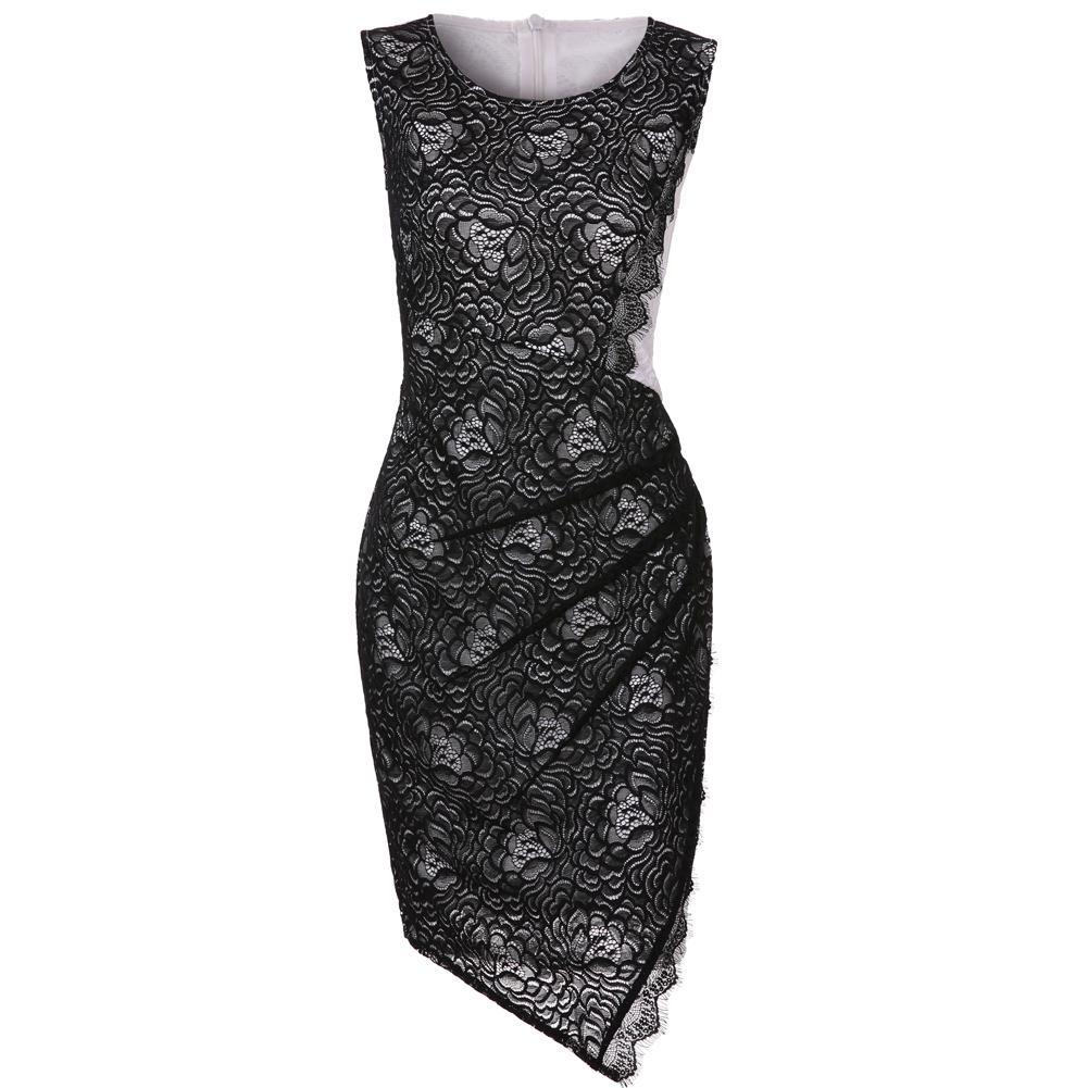 Neue reizvolle dünne bodycon dress frauen ärmellose spitze dress o neck zurück reißverschluss verband mini dress weibliche party kleider damen schwarz q1113