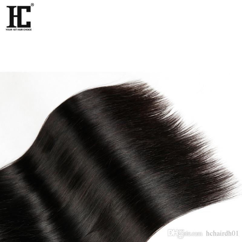 HC Ürünleri Brezilyalı Düz İnsan Saç Remy Bakire İnsan Saç 4 Paketler İnsan Saç Dokuma Uzantıları İşlenmemiş
