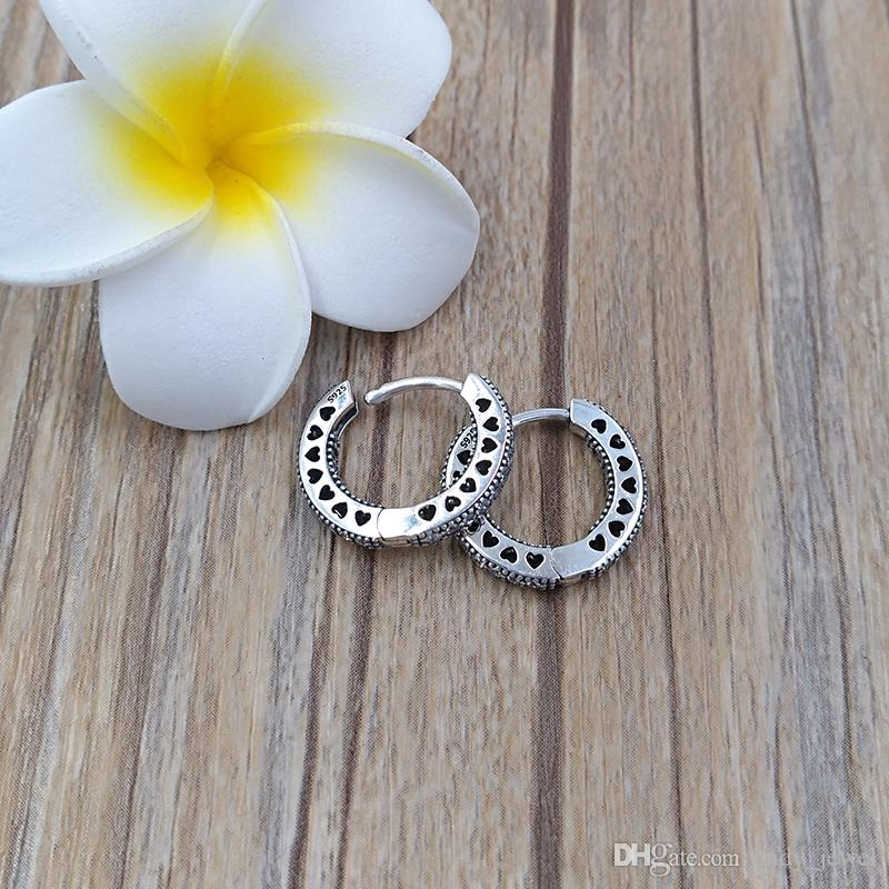 Authentic 925 Sterling Silver Studs Hearts Of Pandora Hoop Earrings Fits European Pandora Style Studs Jewelry 296317CZ