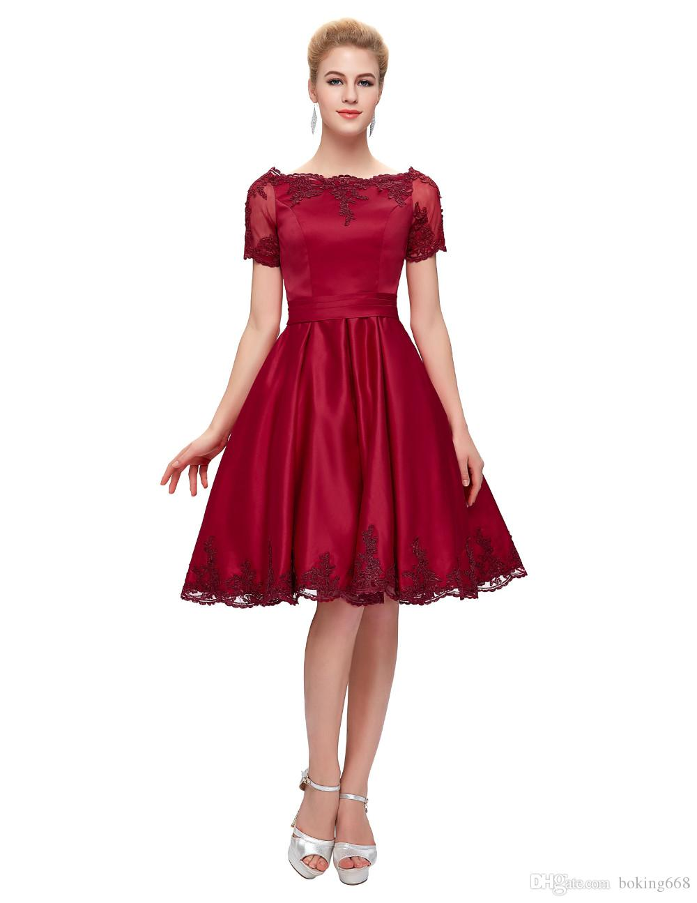 Red Short Cocktail Dresses 2016 Burgundy Short Sleeve Special ...