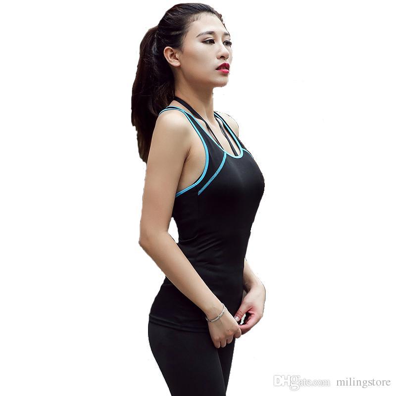 b720481e3cd2c3 2019 Yoga Shirt Women Vest Elastic Skinny Tank Top Running Clothing Ladies Scoop  Neckline Slim Cool Racerback Sports Tops From Milingstore