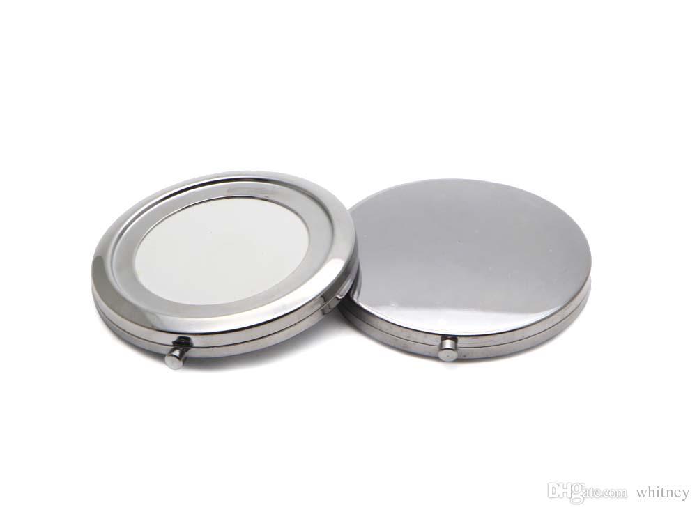 Miroir Blank Compact Maquillage cosmétiques en métal Miroir grossissant bricolage Miroir Portable Couleur Argent # 18410-1