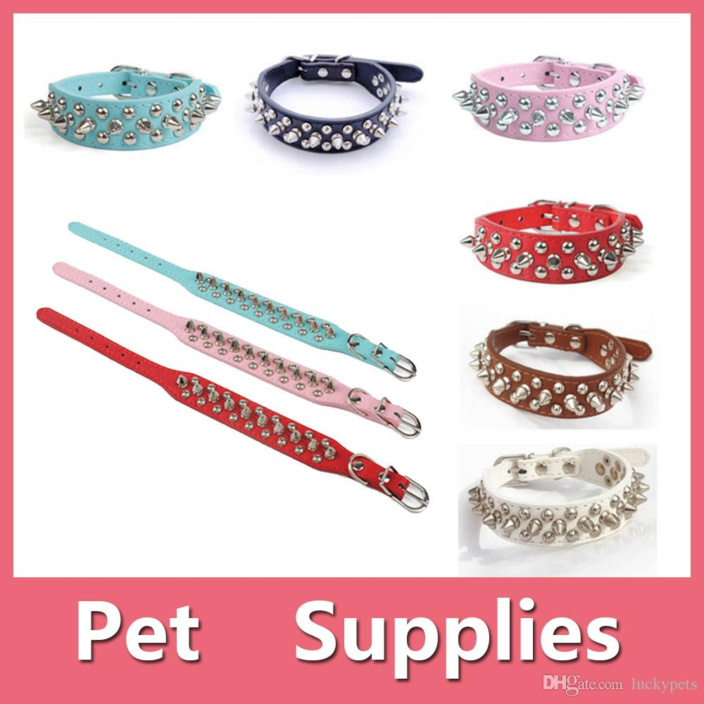 Adjustable PU Leather Punk Rivet Spiked Studded Pet Puppy Dog Collar Neck Strap With