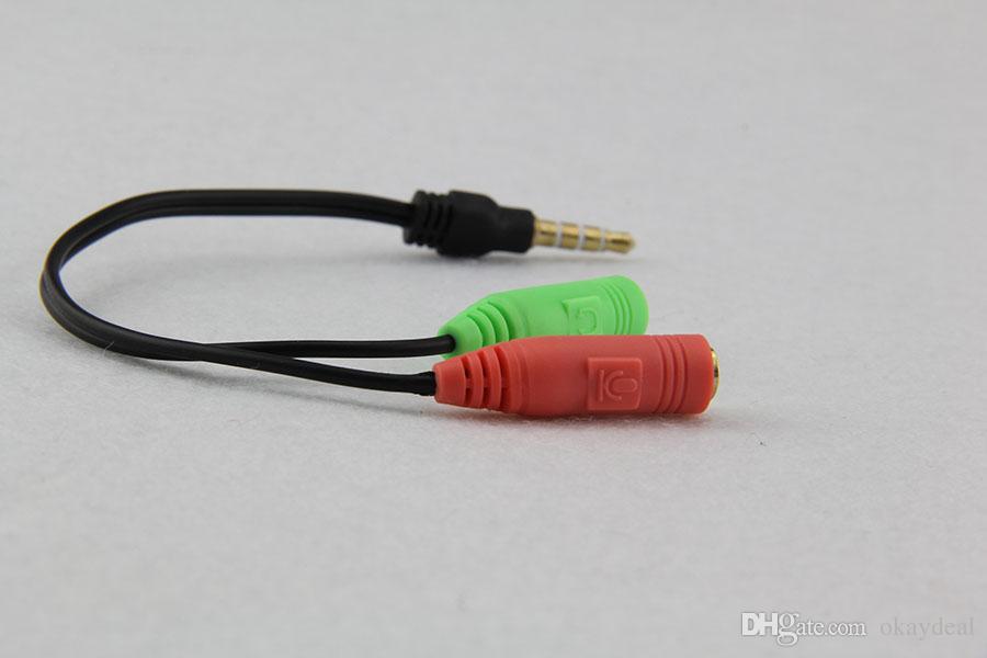 Adattatore cavo audio da 19 cm da 2 a 1. Testa di conversione linea in due cuffie telefoni cellulari