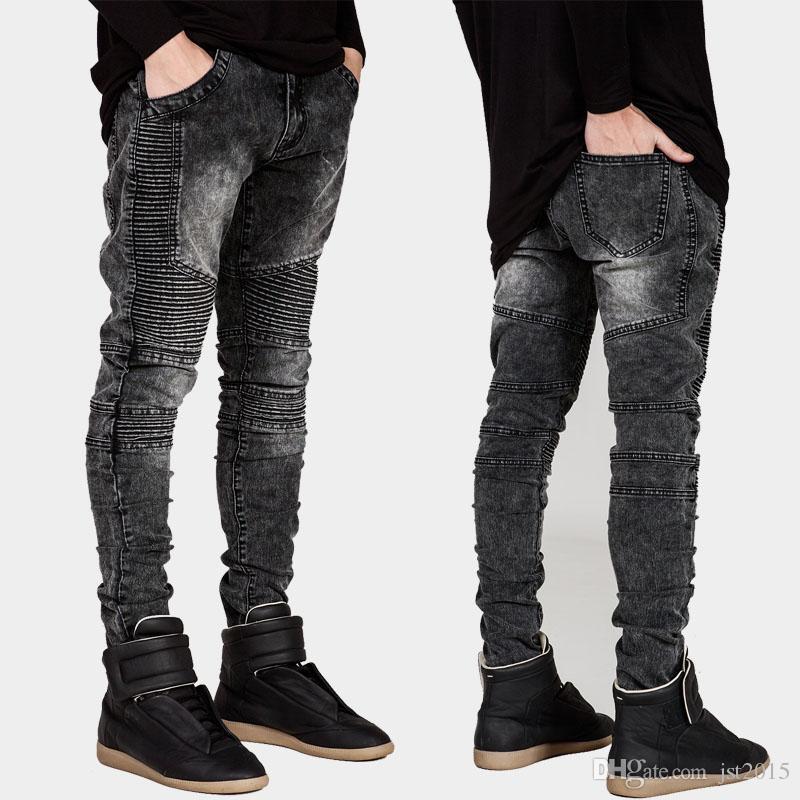 nouveaux hommes Biker Jeans Moto Slim Fit jaune délavé Noir Gris Bleu Moto Denim skinny Pantalon Élastique Joggers Pour Hommes jeans