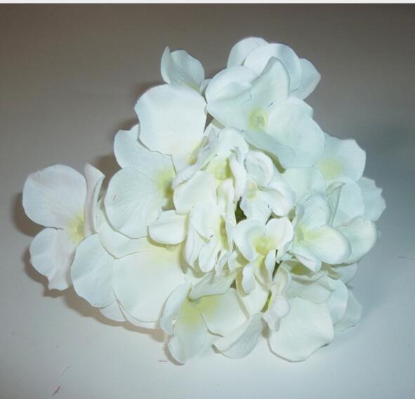 14-15cm Flores artificiales Fiesta de navidad Moda Boda Seda Hortensia artificial Flores Corazón Diámetro blanco Decoración de adornos para el hogar