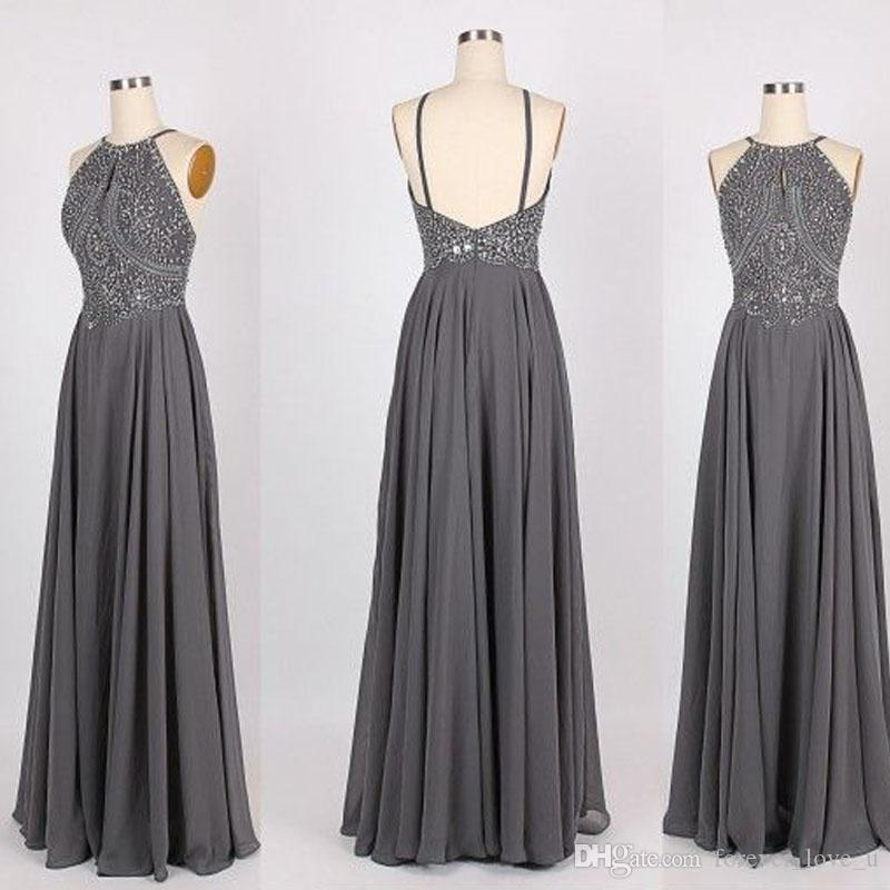 b6472d8346 High Quality Custom Made Grey Prom Dress A Line Halter Neck Beaded Sequins  Top Open Back Floor Length Evening Party Gowns Custom Made Create Your Own  Prom ...