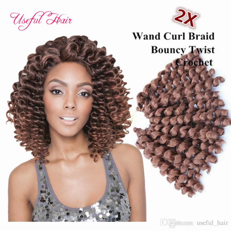 Ücretsiz kargo 8 inç değnek kıvırmak kabarık büküm tığ saç uzantıları, sentetik örgü saç ombre tığ örgü saç marley kadınlar için