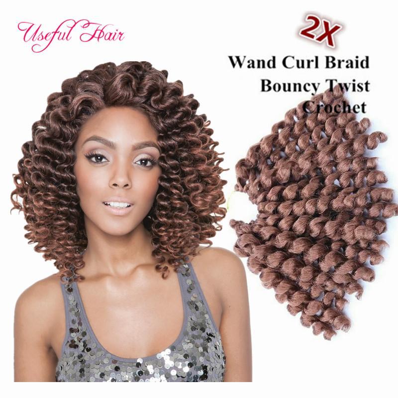 O envio gratuito de 8 polegadas varinha onda bouncy torção extensões de cabelo de crochê, cabelo trança de crochê sintético trança ombre cabelo para mulheres marley