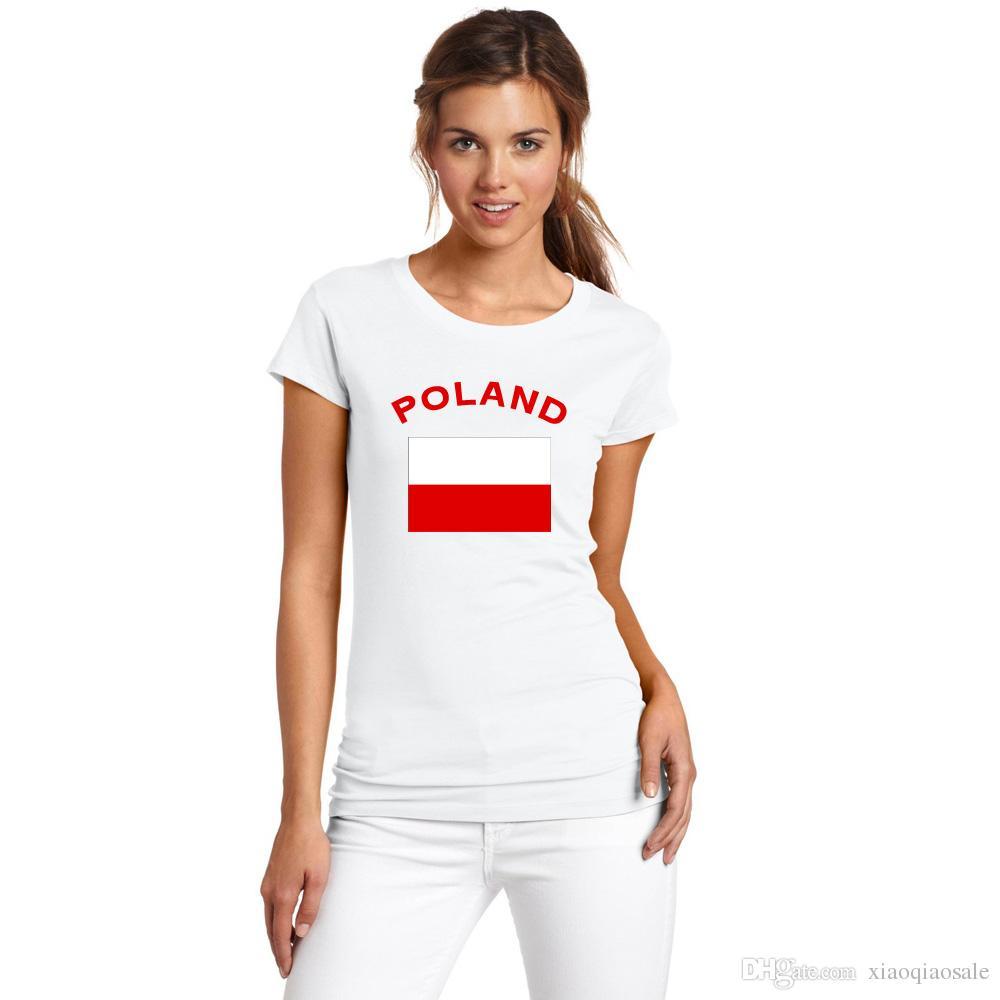 Copa europeia Lembrança Mulheres camiseta POLAND Fãs de Futebol Torcendo Bandeira Nacional Mulheres T-Shirts de Algodão Gola Redonda Esportes Roupas