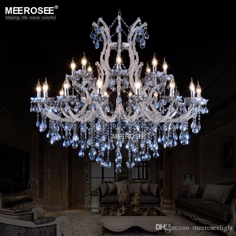Large European Style Crystal Candle Lamp 24 Light Colored Glass Massive Chandelier Hotel Hallway Decorative Lighting Fixture Vintage