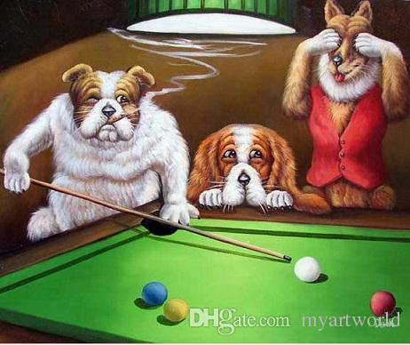 Framed Dogs Playing Pool Classic Pop ArtPure Hand Painted - Pool table painting