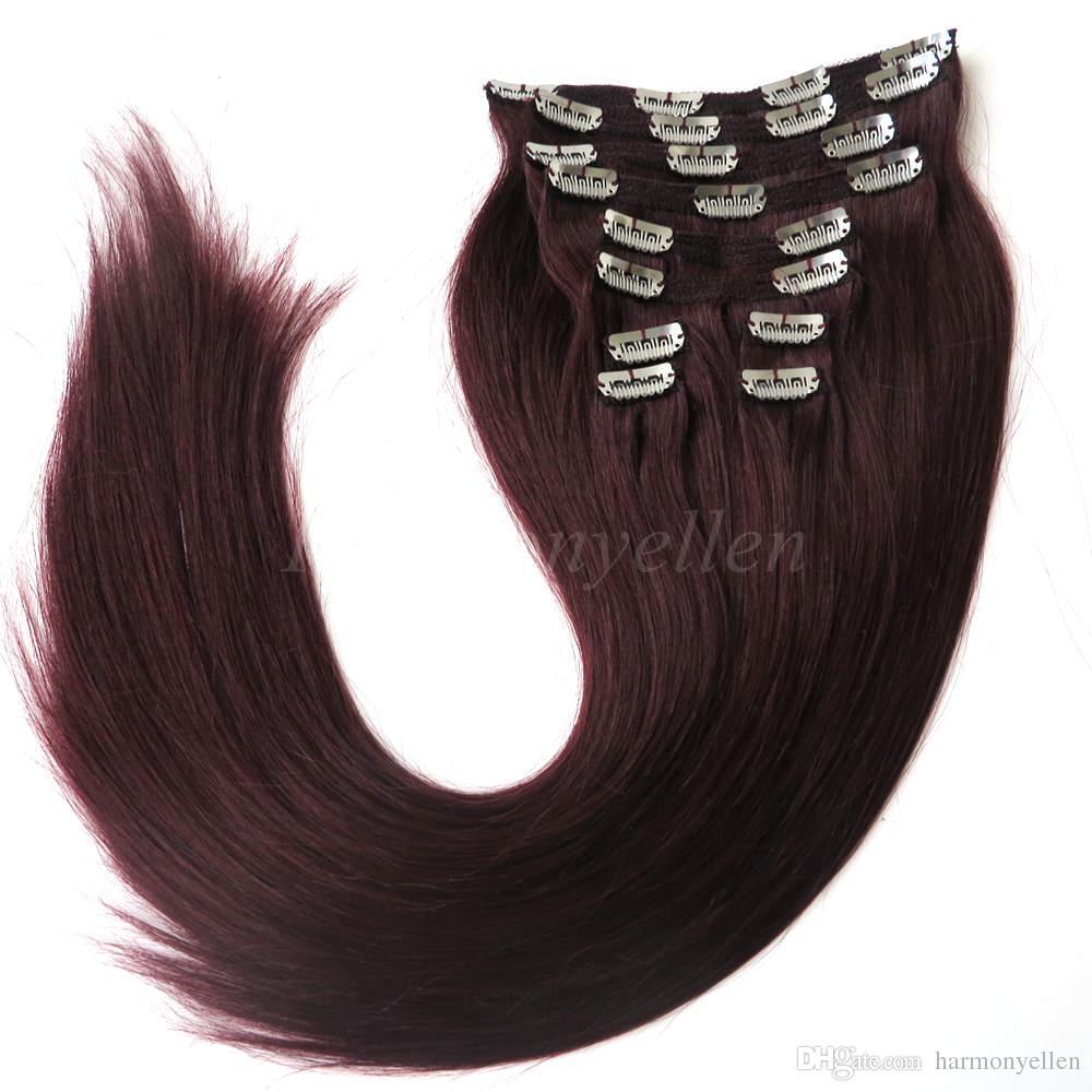 Brazilian Hair Huamn Hair Clip In Extension 220g Piece Bur Full