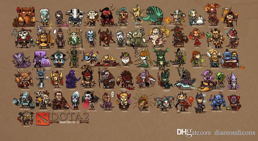 2018 dota 2 game mini comic heroes printing 24x43 poster