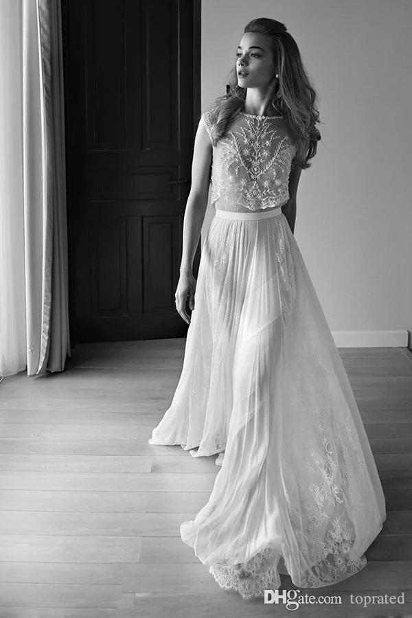 2016 vestidos de novia de dos piezas cariño sin mangas espalda baja perlas rebordear lentejuelas encaje gasa Beach Boho bohemio vestidos de novia