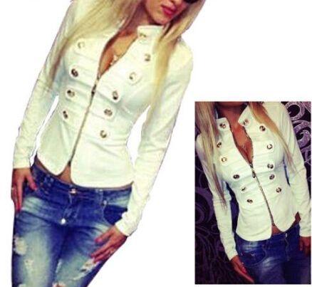 2016 새로운 패션 멋진 여자 스타일 더블 브레스트 모직 스탠드 칼라 짧은 코트 재킷 무료 배송
