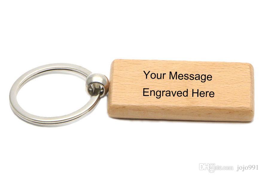 Porte-clés en bois blanc Rectangle porte-clés personnalisé porte-clés peut être gravé logo 2.25 '' * 1.25 '' / KW01C Free Ship