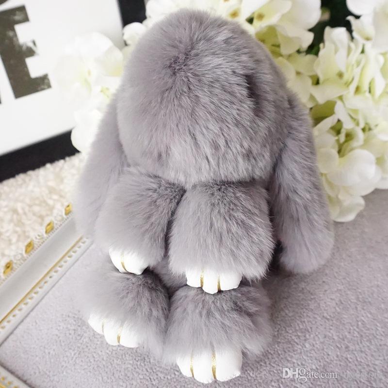 Por DHL 2016 New Rex Play Dead Rabbit llavero Juguetes de peluche Llaveros de piel Muñeca de conejo de coche Colgante lindo Juguetes Monedero Bolso colgante es