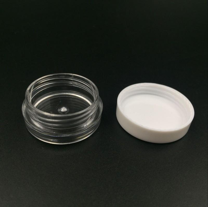 Livraison gratuite blanc pot crème rond transparent Top 3G Voyage conteneur pot pots 3ML clair conteneur d'échantillons en plastique pour le stockage nail art