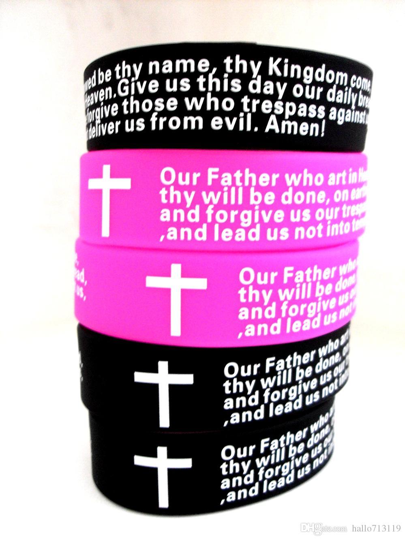 Inspirational English Lords Prayer Christian Mens WOMEN Fashion Cross Silicone bracelets wholesale wristband cuffJewelry