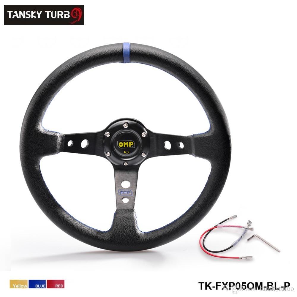 Tansky - Hochwertiger 350MM PVC Racing Aluminiumrahmen Leichtes 6-Loch Lenkrad Modifiziert Jdm Sport gelb rot blau TK-FXP05OM-P