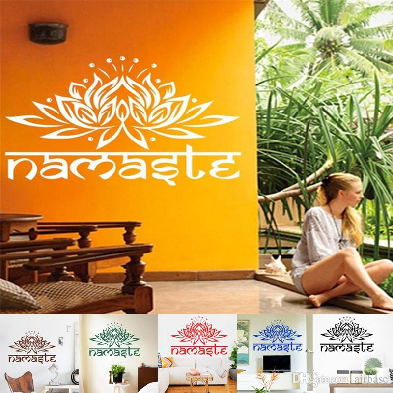 Newest India Namaste Word Religion Wall Stickers Decal Vinyl Lotus - Wall decals india