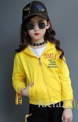 가을 2017 새로운 한국 어린이 여자 어린이 스웨터 두 조각 정장과 긴 소매 운동복 노란색 어린이