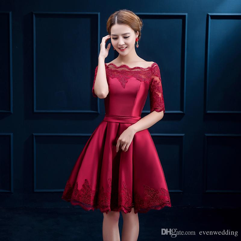 Half Sleeves Lace Satin Cocktail Dress Short 2018 Elegant Women Dress Party Elegant Knee Length Party Gowns Burgundy