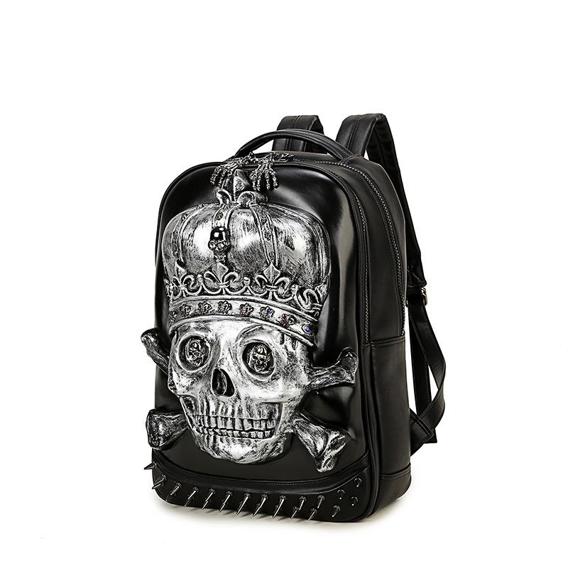 Fashion 3D Skull Laptop Notebook Backpack Style for teenagers Cool Men women Backpack Large PU Leather Backpack With Rivet Special mochila