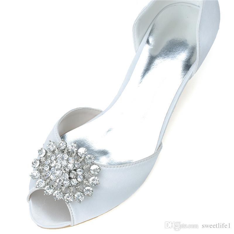 0700-03 Simples Strass Cristal Moda Salto Baixo Vestidos de Casamento Peep Toe Para As Mulheres Do Partido Prom Evening Ocasião Sapatos de Alta Qualidade