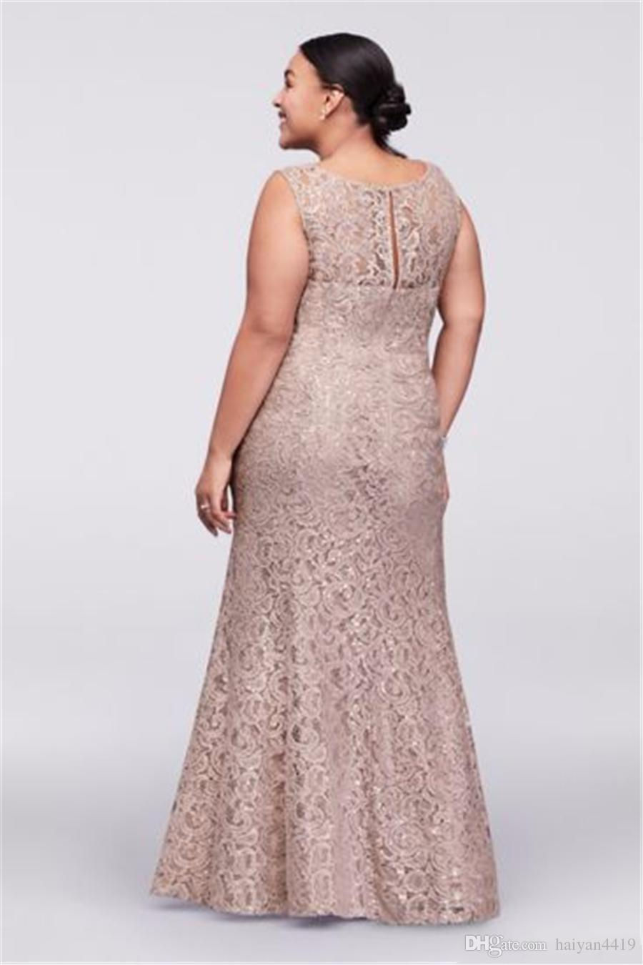 2017 Vintage Cheap Mother Of the Bride Dresses Jewel Neck Champagne Full Lace Mermaid Crystal With Wrap Plus Size Formal Wedding Guest Dress