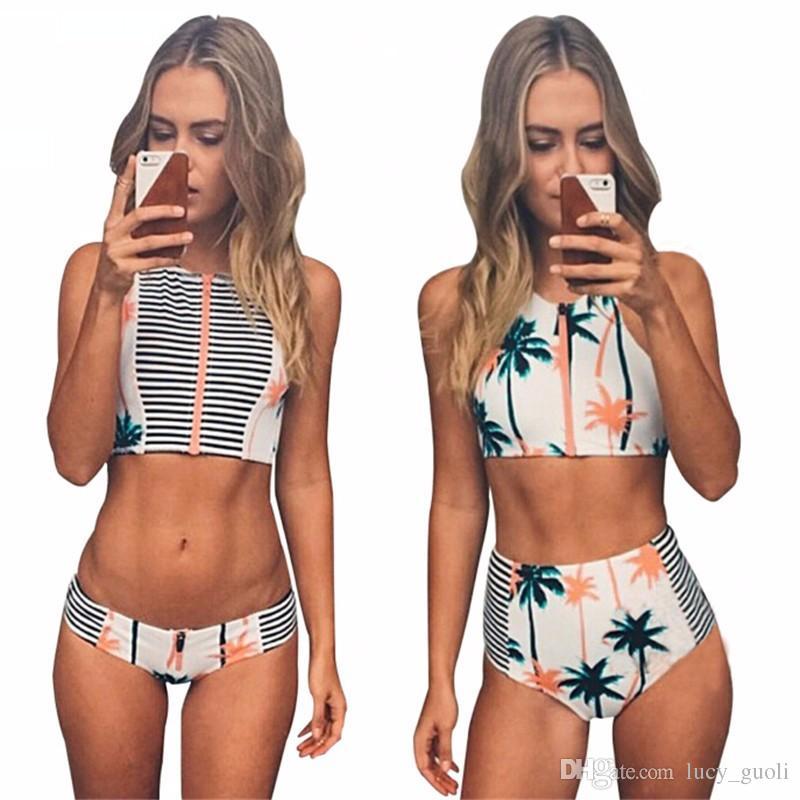 c511377efe8 2019 Print Floral Palm Tree Bikini Set,High Neck Tank Zipper Striped  Swimsuit Padded Bra High Waist Swimwear Vintage Bathing Suit Women Swimwear  From ...