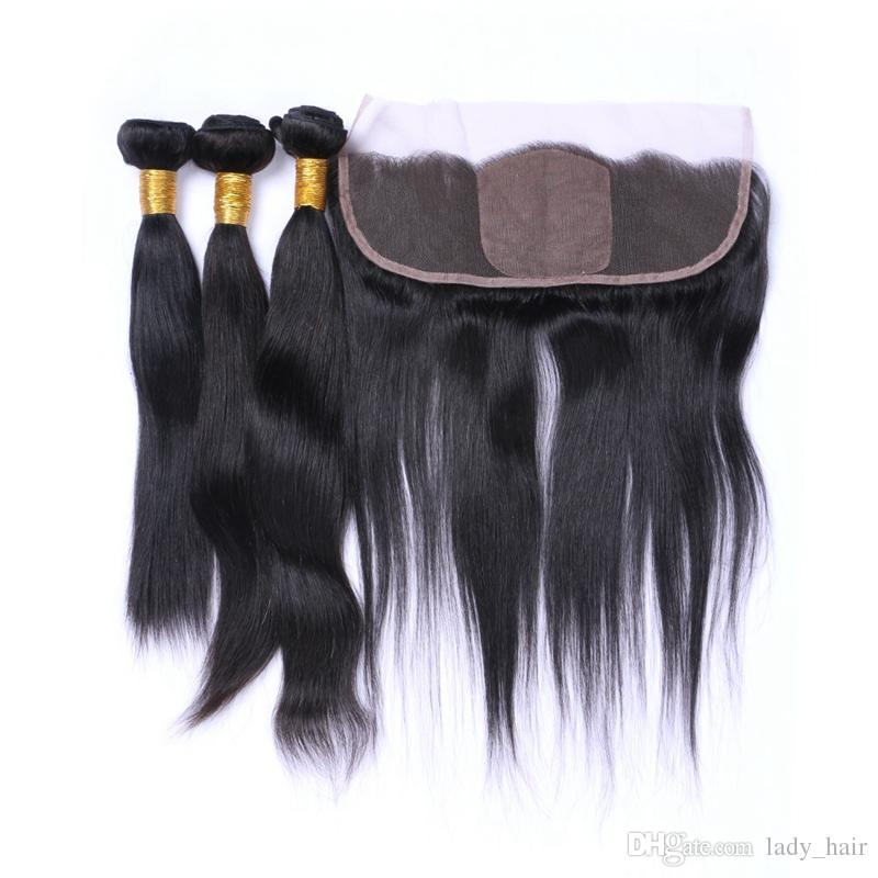7A Malaysian Silky Straight Human Hair With Silk Base Frontal Malaysian Hair 3Bundles With Silk Top Lace Frontal Closure 13x4