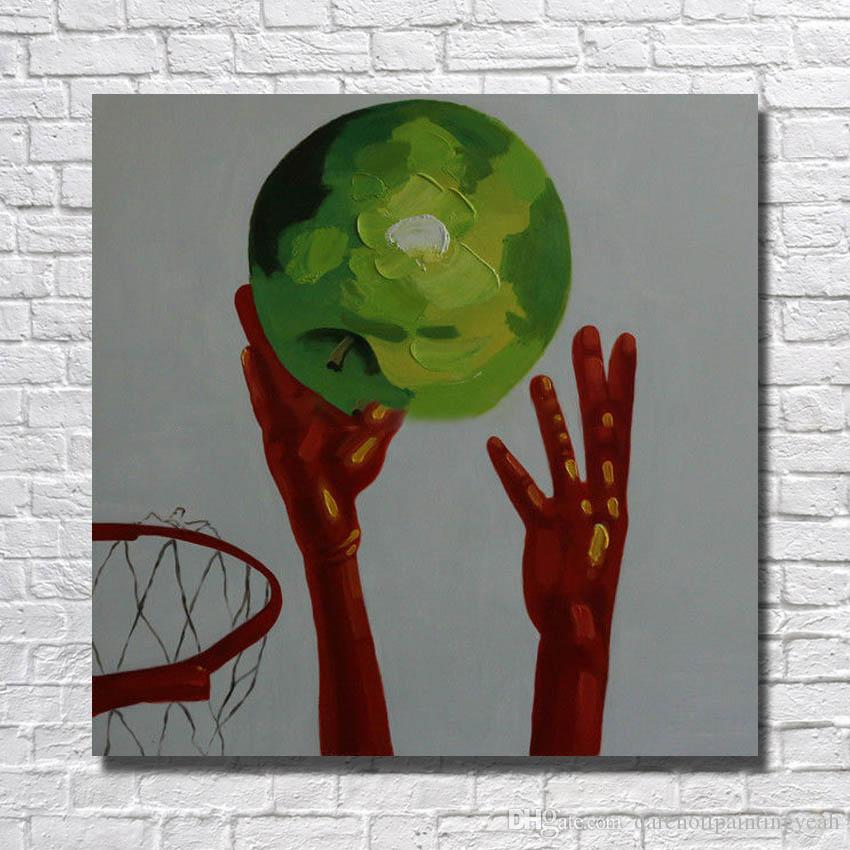 New Design Abstract Pictures on Canvas Home Decor Sitting Room Wall Pictures Modern Play Basketball Oil Painting 1 Peices No framed