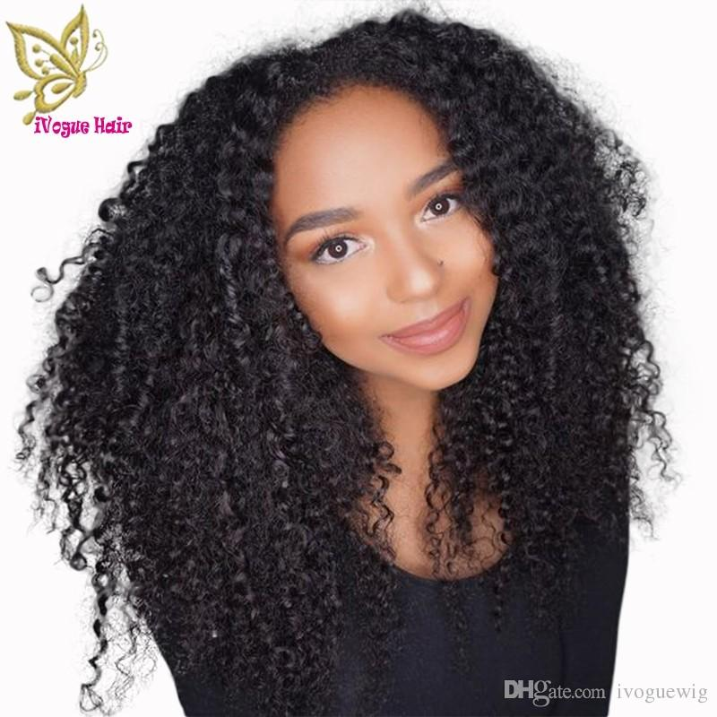 Afro Kinky Curly Full Lace Human Hair Wigs Unprocessed Brazilian Virgin Hair Glueless Front Lace Wig Human Hair with Baby Hair
