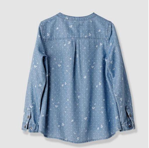 Floral Shirts Children Denim Long Sleeve Shirt Cowboy Cotton Turn Down Collar Clothes Kids Clothing Shirts