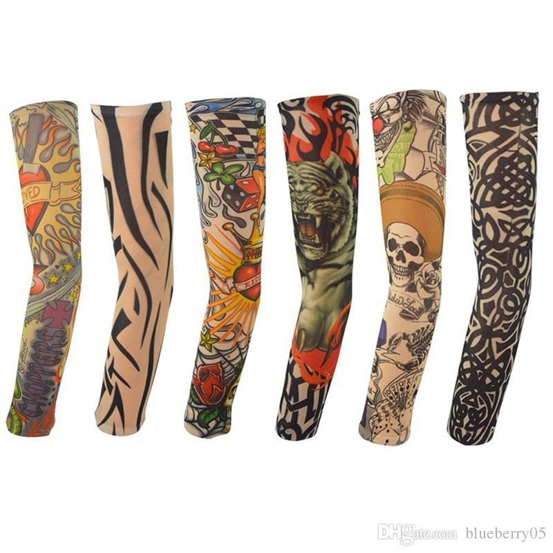 New Hot Sale Nylon Elastic Fake Temporary Tattoo Sleeve Designs Body Arm Stockings Tatoo for Cool Men Women