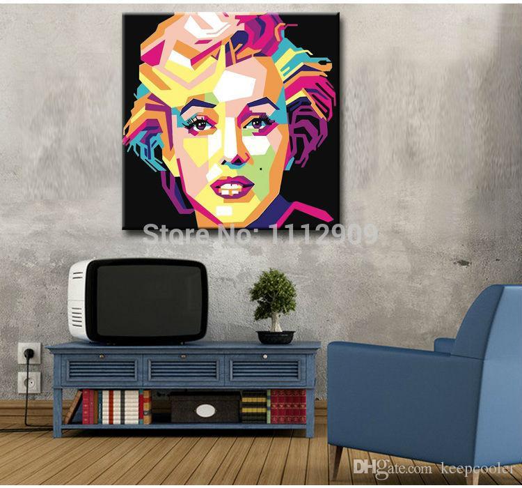Frete grátis Handmade Moderna pintura a óleo Abstrata na lona Arte decorativa Pop art pinturas Monroe para Sala de estar Fundo preto