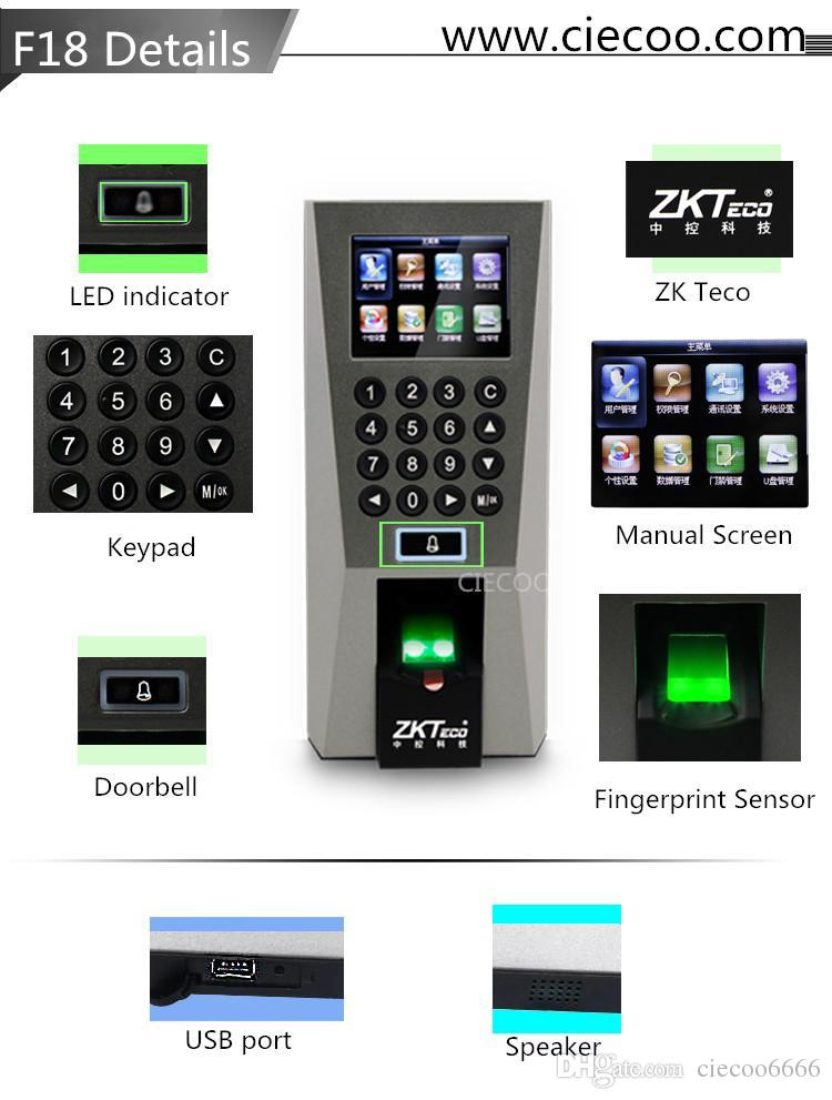 2018 Zk F18 Fingerprint Door Access Control And Time Attendence Security System Door Locks From Ciecoo6666 $99.5   Dhgate.Com  sc 1 st  DHgate.com & 2018 Zk F18 Fingerprint Door Access Control And Time Attendence ...