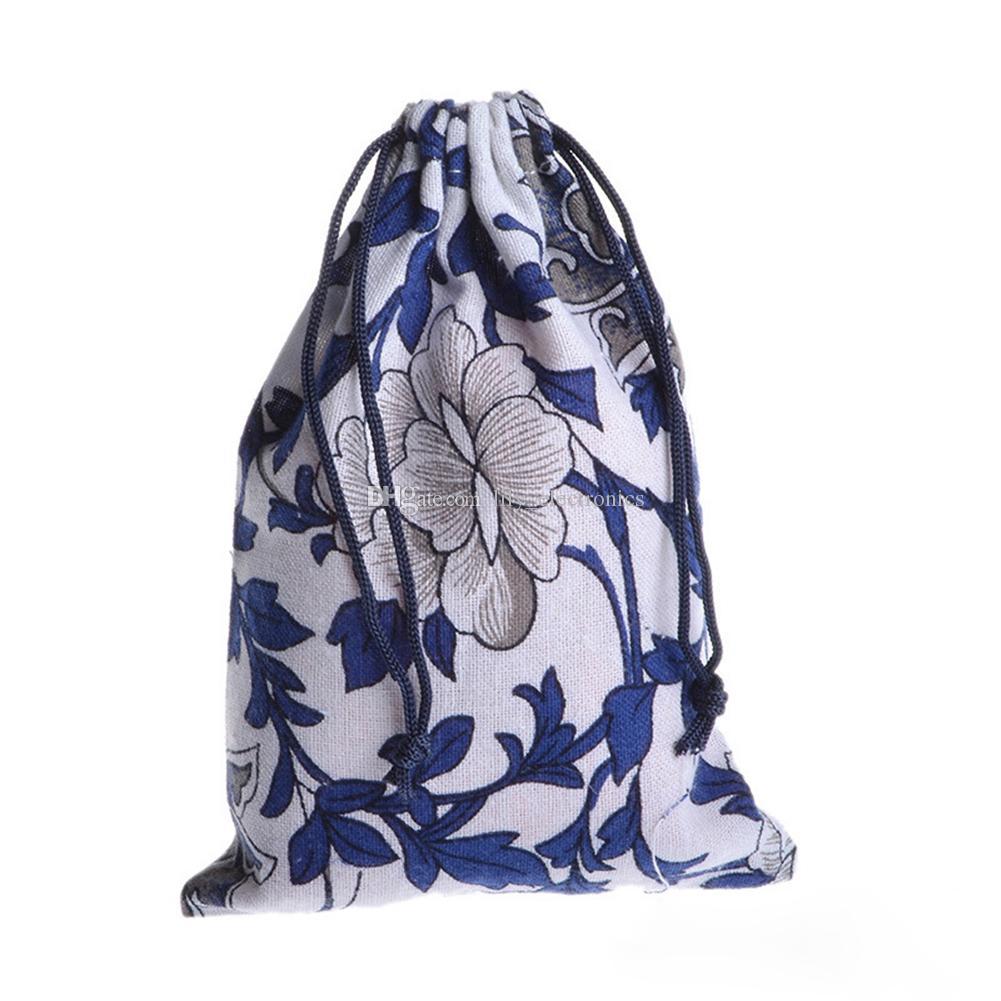 Drawstring Cotton Linen Pouches Ethnic Vintage Flowers Gift Bag Tea Coin Storage Bags Color Send Randomly
