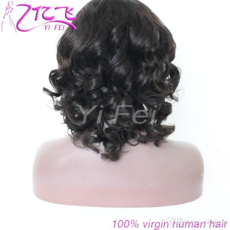 Loose Weave Lace Front Human Hair Wig Pre Plucked Brazilian Remy Hair Natural Black 8-18inch Full Lace Wig For Black Women